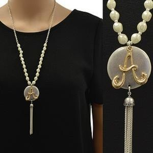 Jewelry - Hammered Disc Monogram Tassel Necklace